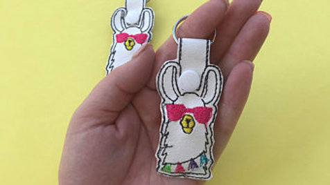 Cool llama embroidered keychain