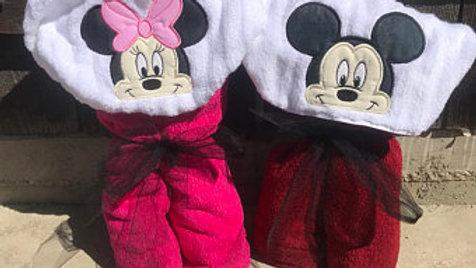 Minnie or mickey hooded towel