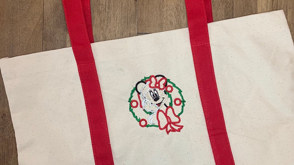 Minnie in Wreath pocket tote