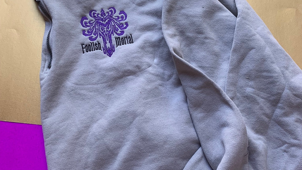 Foolish Mortal Haunted Mansion embroidered 1/4 zip, hoodie or pullover