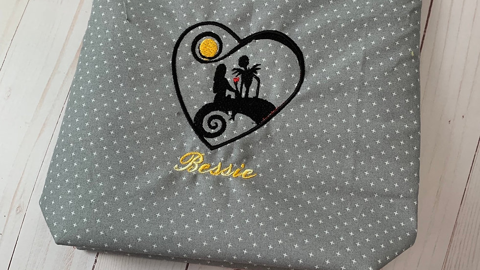 Jack and sally heart embroidered makeup bag,tote bag, blanket or towel
