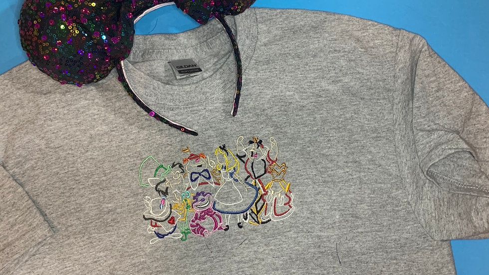 Alice in wonderland embroidered t-shirt or tank top