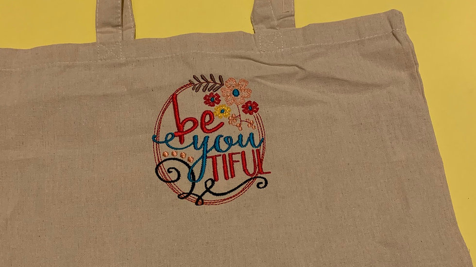 Be You Tiful embroidered market tote