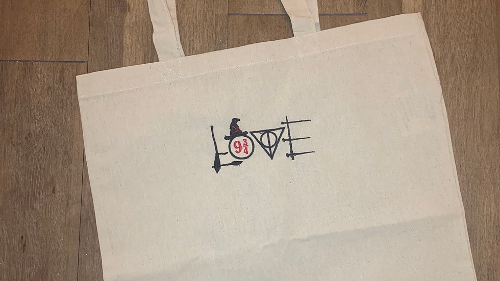 HP Love embroidered market tote