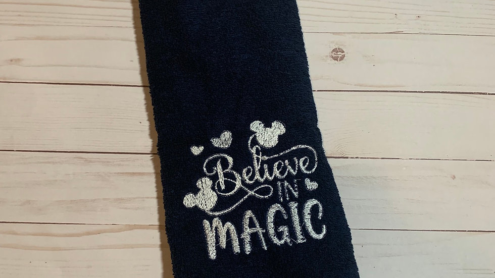 Believe in Magic embroidered towels, blanket, makeup bag or tote