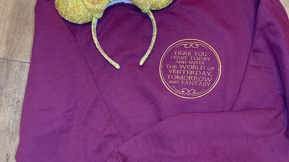 Here you leave today Quote embroidered hoodie, pullover, 1/4 z