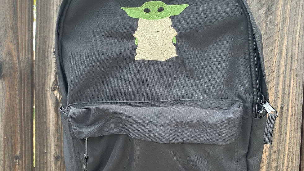 Baby Yoda Embroidered Backpack