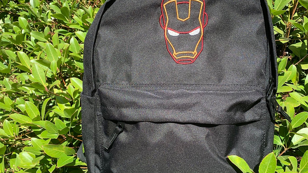 Iron man embroidered backpack