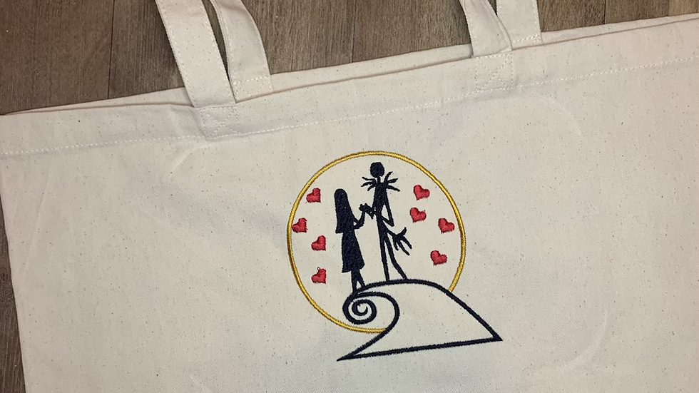 Jack and Sally Large Canvas Tote