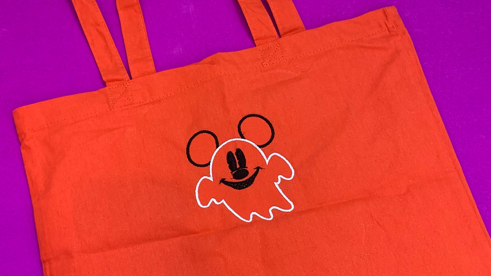 Mickey Ghost embroidered market tote