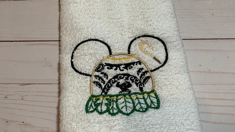 Maui Mouse embroidered towels, blanket, makeup bag