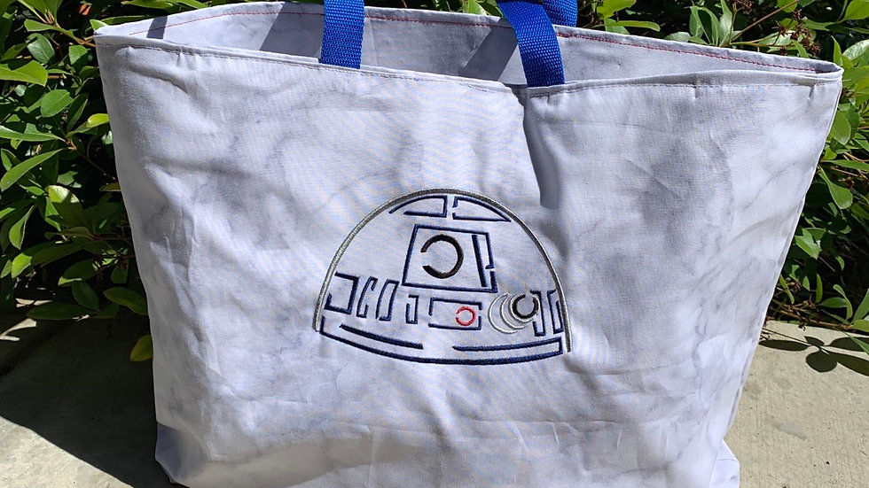 R2D2 Embroidered towel, blanket, makeup bag, tote bag - name embroidery availabl