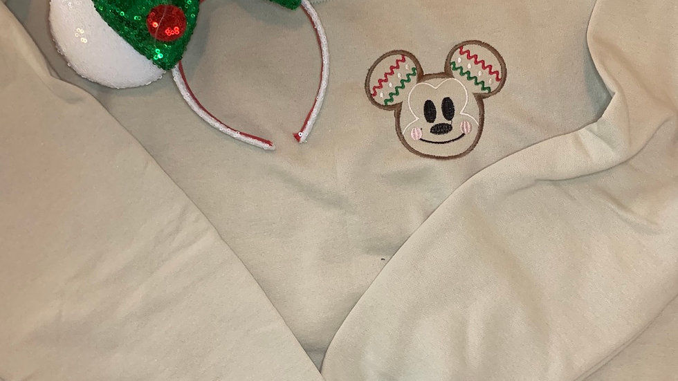 Mickey Gingerbread embroidered hoodie, pullover, 1/4