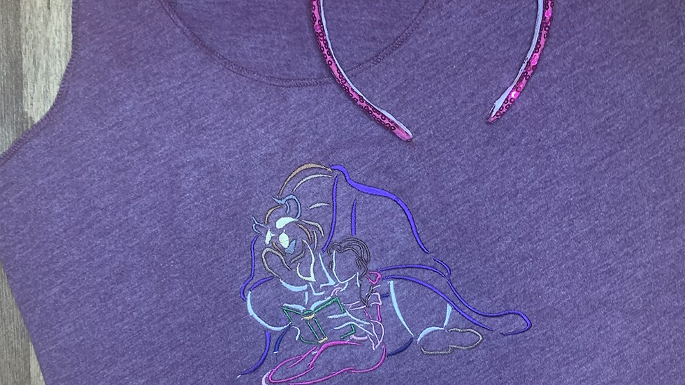 Belle and the Beast Embroidered Tee or Tank