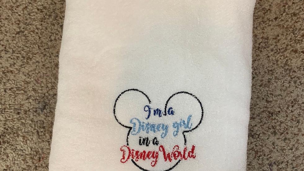 I'm a Disney girl in a Disney World embroidered towels, blanket, makeup bag