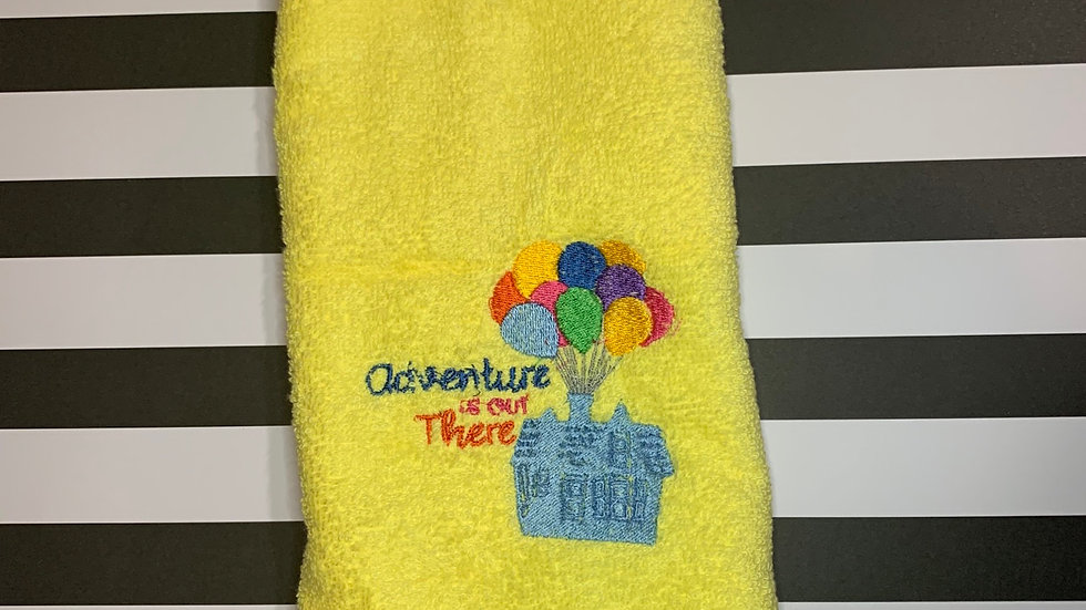 Adventure is out there embroidered towels, blanket, makeup bag