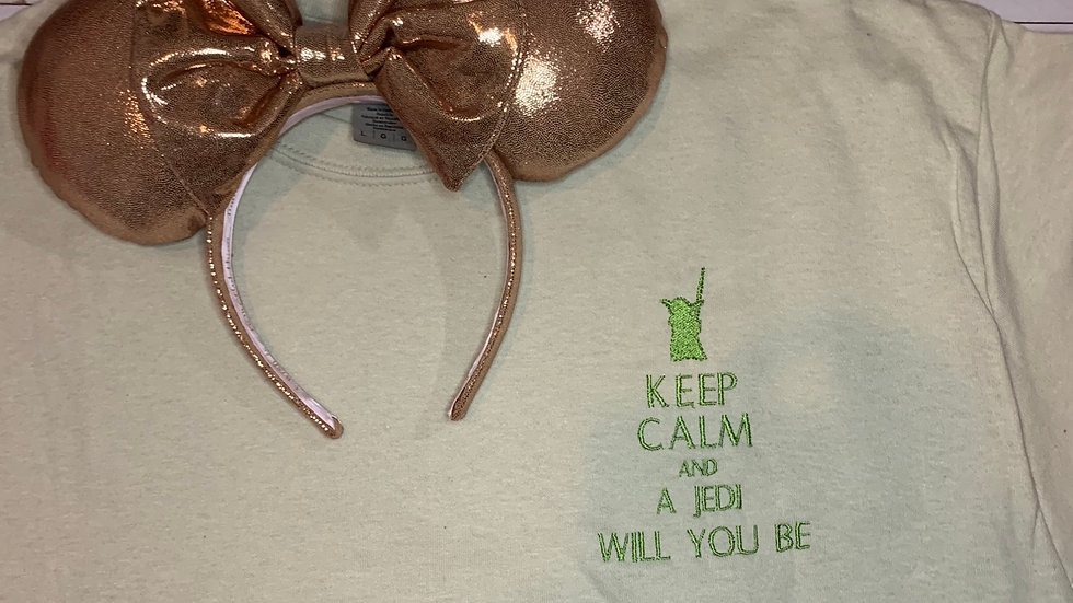 Yoda - Keep calm and a Jedi you will be embroidered t-shirt or tank top