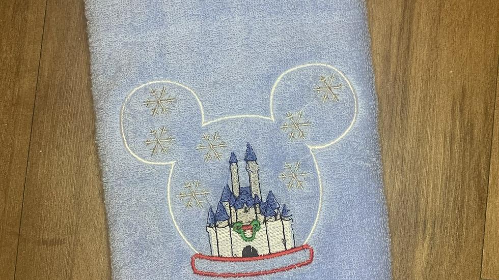 Castle Mouse snow globe towels, makeup bag, tote