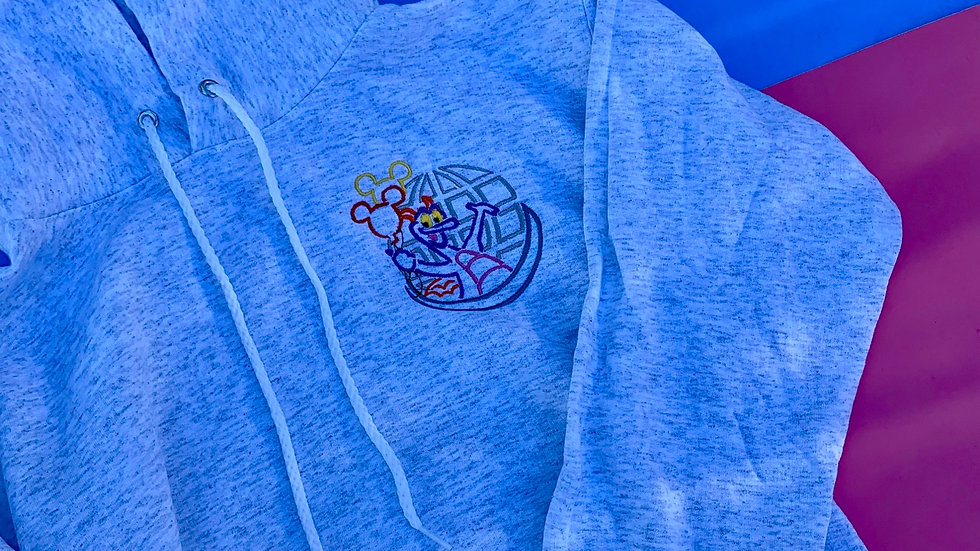 Figment embroidered hoodie, pullover or 1/4 zip