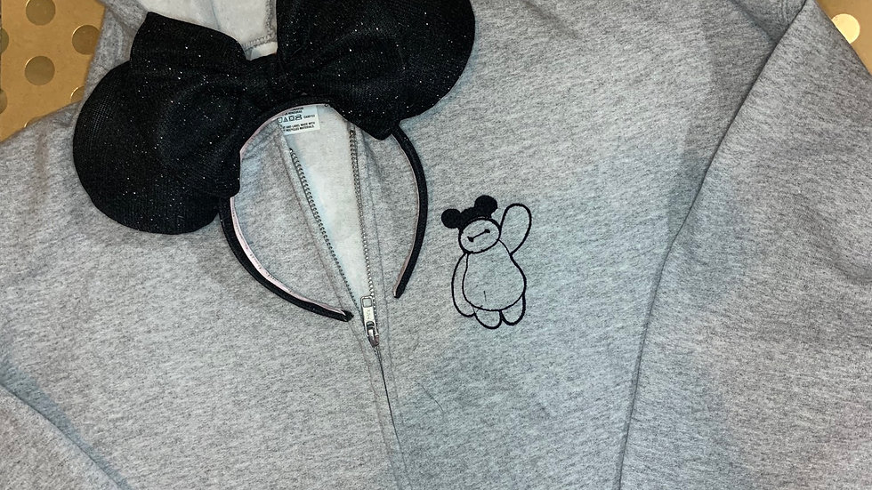 Baymax with Mouse Ears embroidered zip up hoodie