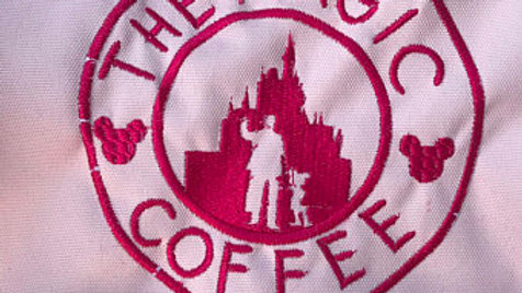 Magic Coffee Co embroidered towel, blanket, makeup bag, tote bag