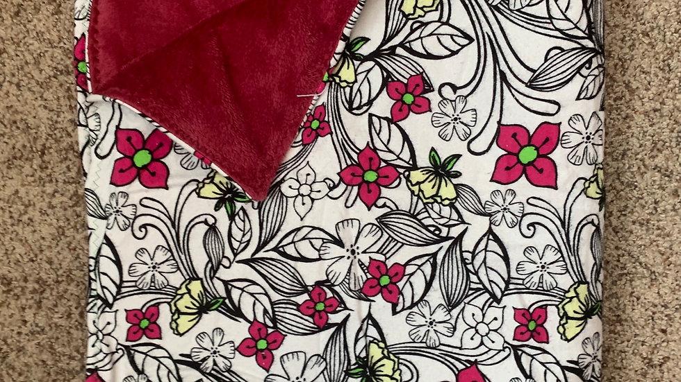 Maroon floral minky blanket