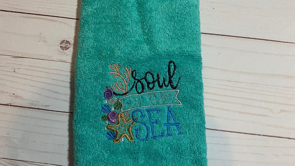 Soul of the sea embroidered towels, blanket, makeup bag