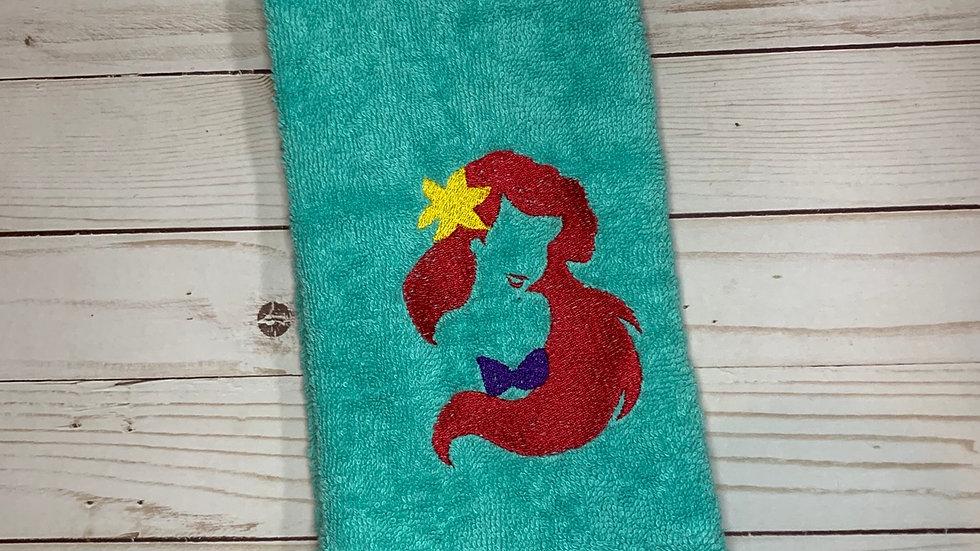 Ariel Bust embroidered towels, blanket, makeu