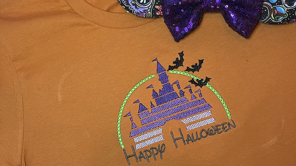 Happy Halloween Castle embroidered Tee or Tank Top