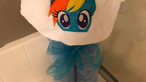 Rainbow dash pony hooded towel - name embroidery available