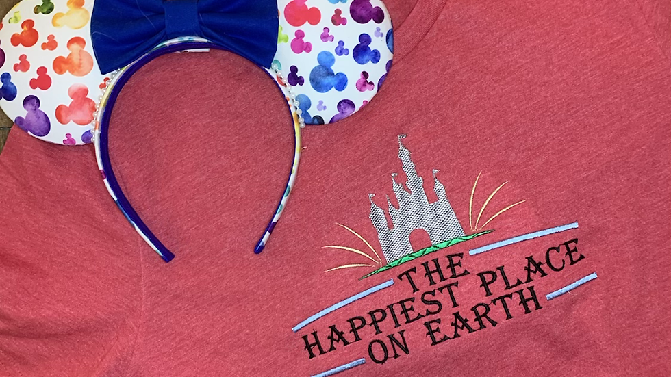 Happiest Place on Earth embroidered t-shirt or tank Top