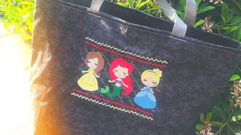 Ariel, Cinderella and Belle Smock embroidered tote bag, makeup bag, towel or bla
