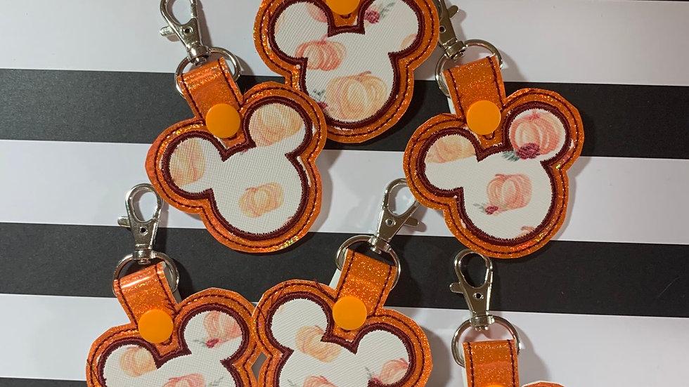 Autumn Pumpkin on Orange Mickey head keychain