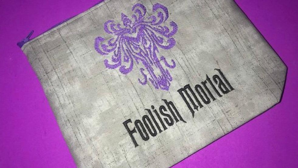 Foolish mortal embroidered makeup bag , tote bag , towel, blanket