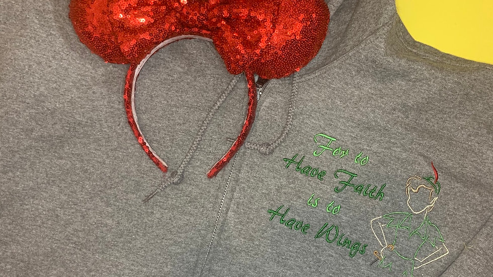 For to have faith is to have wings - Peter Pan embroidered zip up hoodie