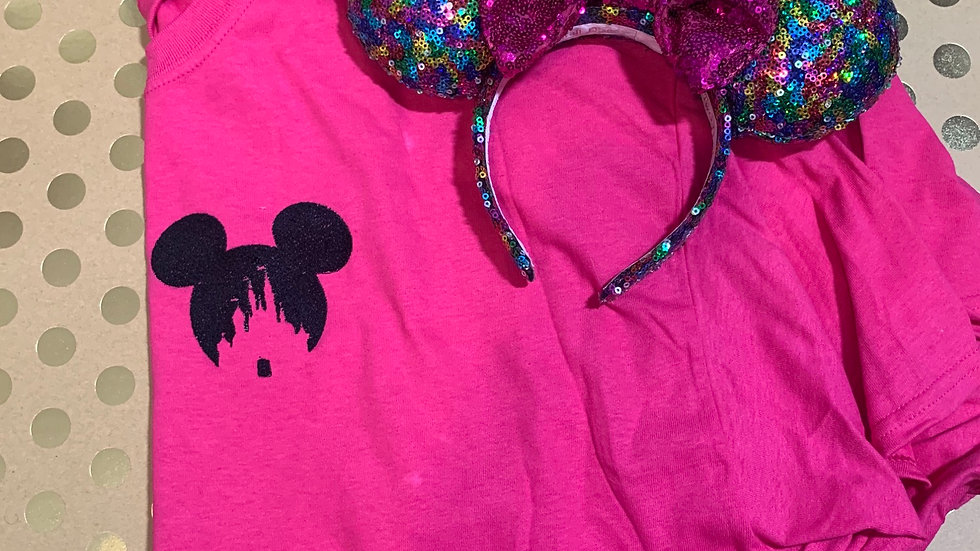Mickey Mouse silhouette with castle embroidered T-Shirt or tank top