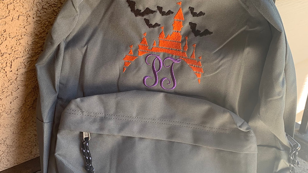 Halloween Castle Monogram embroidered backpack