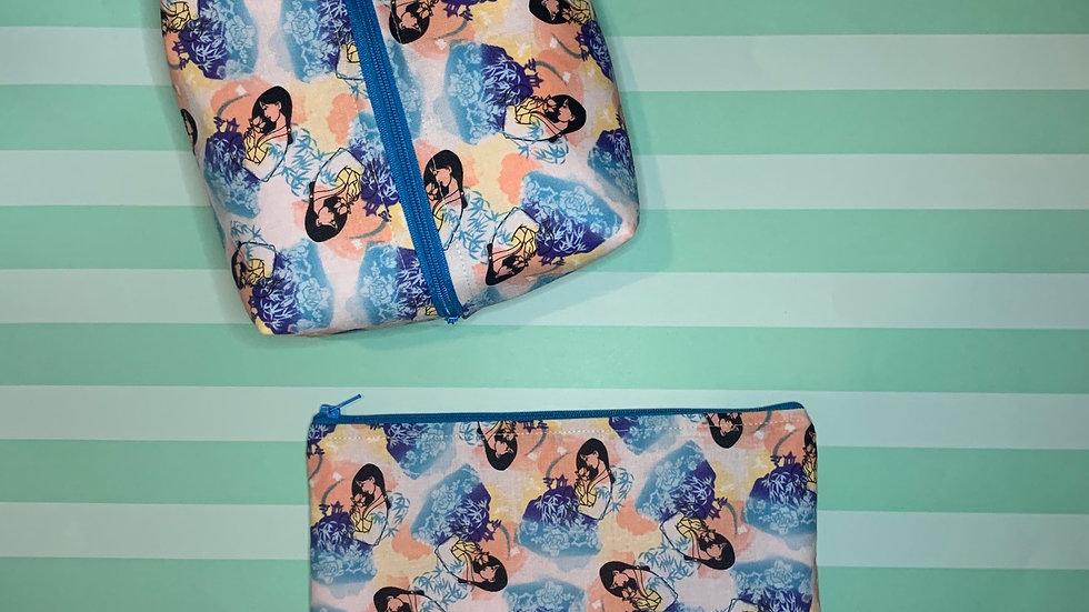 Watercolor Mulan boxy bag or makeup bag