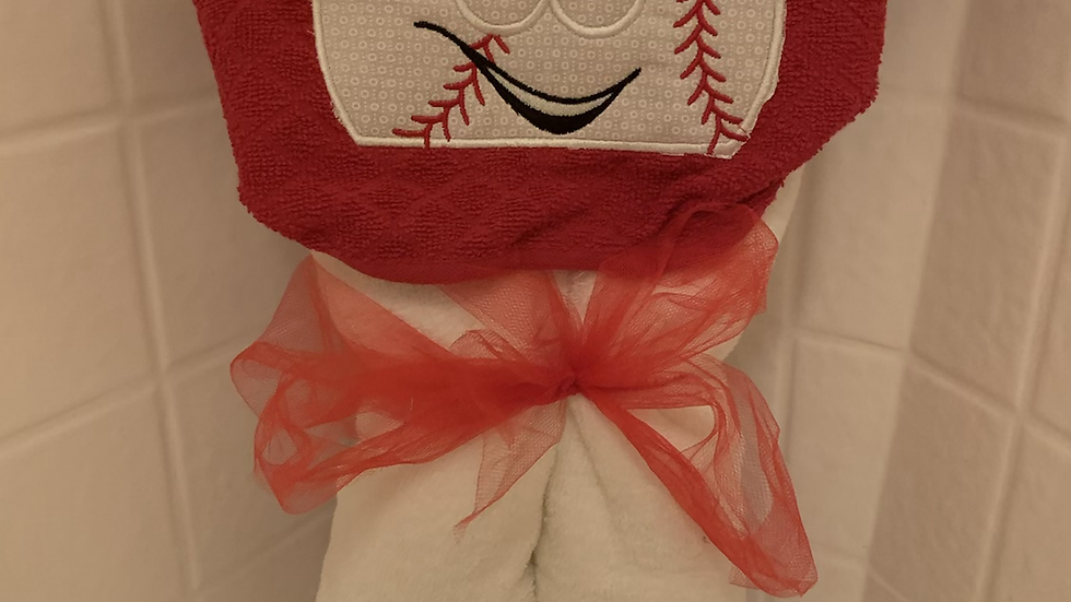 Baseball embroidered hooded towel