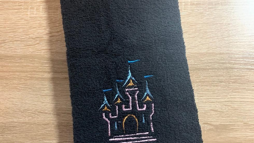 Castle sketch embroidered towels, blanket, makeup bag or tote bag