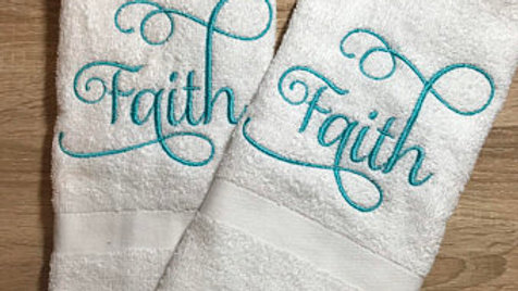 Faith embroidered hand towels / bath towels
