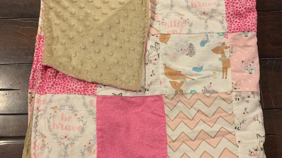 Baby girl woodland patchwork quilt blanket