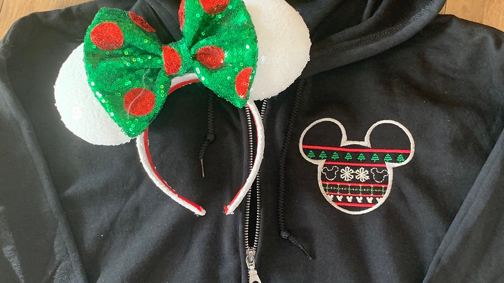 Mickey Mouse Ugly Sweater embroidered zip up hoodie