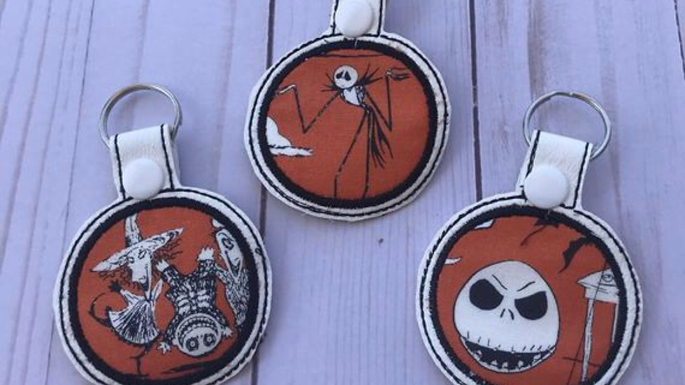 Nightmare before christmas embroidered applique keychain