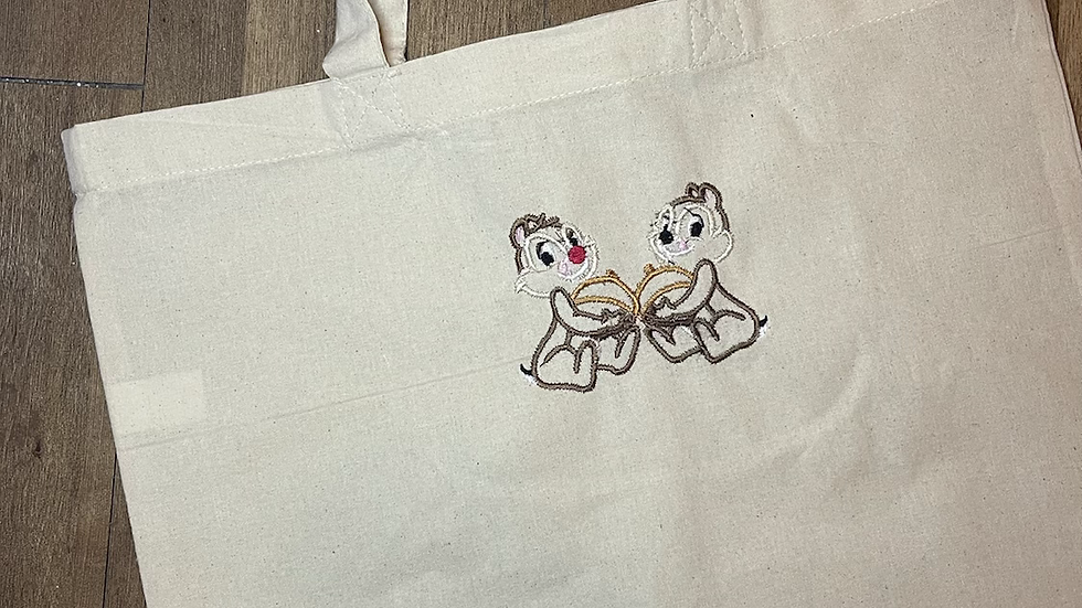 Chip and Dale embroidered market tote