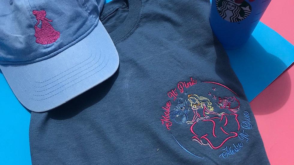 Make it pink Make it blue - Princess aurora embroidered tee / tank