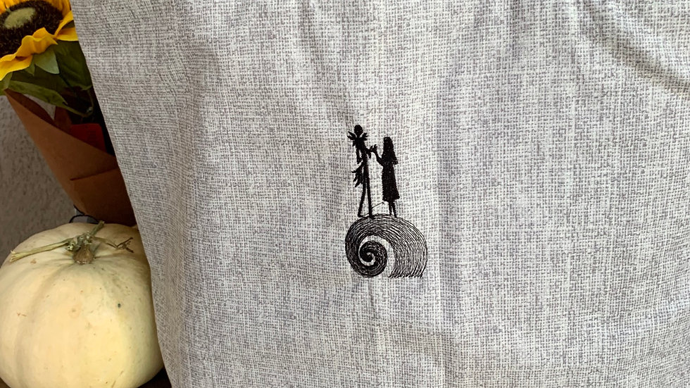 Jack and sally mountain embroidered towels, blanket, makeup bag or tot