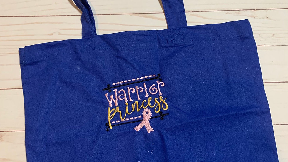 Warrior Princess Breast Cancer embroidered market tote