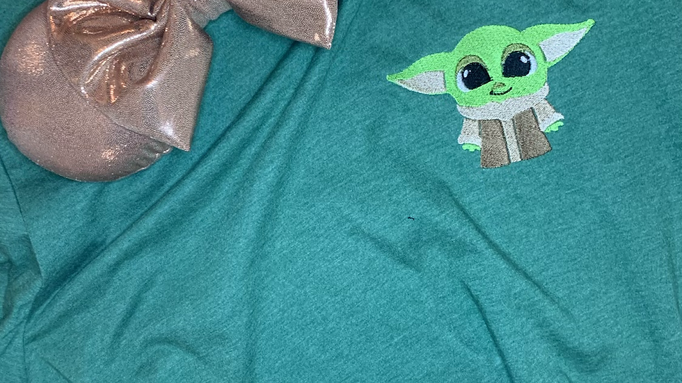 Baby Yoda embroidered t-shirt or tank Top