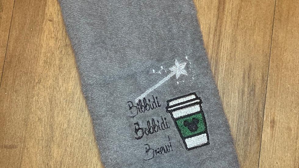 Bibbity Boppity Brew towels, makeup bag, tote